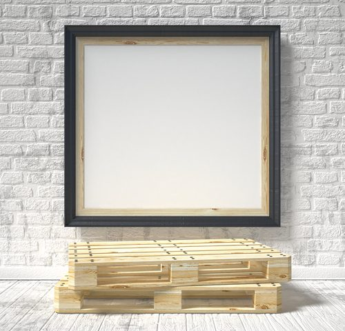 Mock up poster with wooden pallet. 3D render illustration isolated on a white background